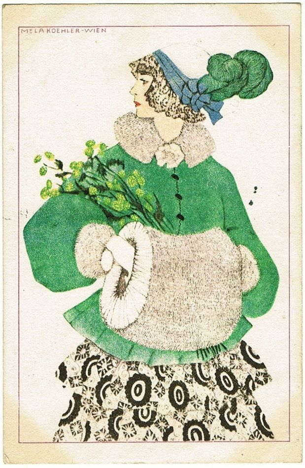 Mela Köhler Art Deco Postcard Girl with Muff