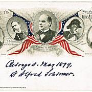 1899: President William Mc Kinley and His Men. Postcard