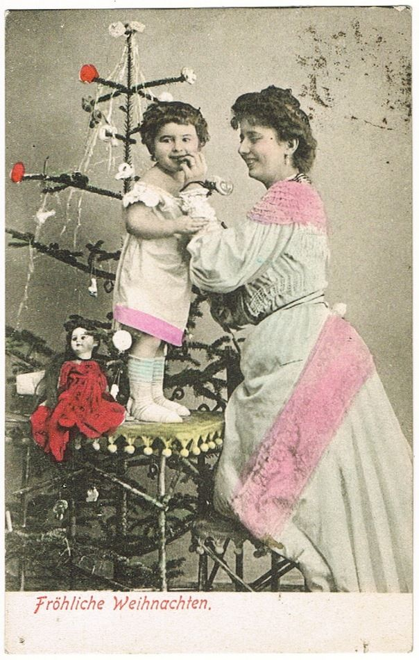 Doll And Xmas Tree Old Fashioned Christmas Postcard From