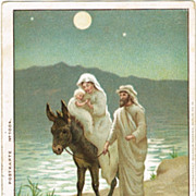 Merry Christmas. The Holy Family. Vintage Postcard 1900