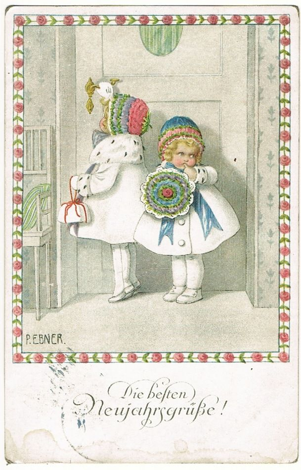Pauli Ebner New Years Postcard with Little Girls, 1916
