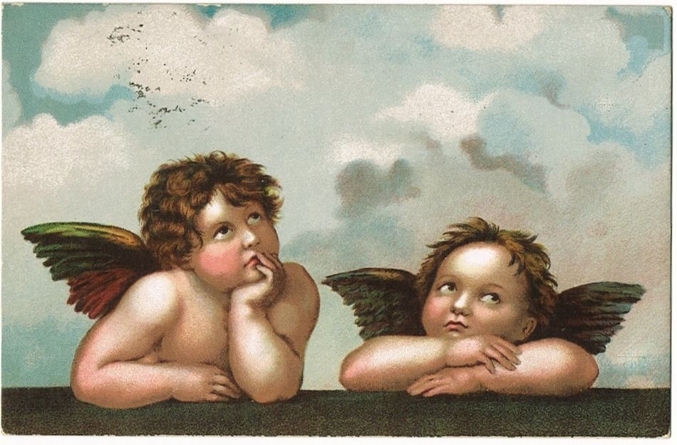 Vintage Postcard with 2 little Angels