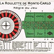 Roulette in Monte Carlo vintage Postcard