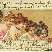 Art Nouveau Postcard Beauties and Gentleman. 1901