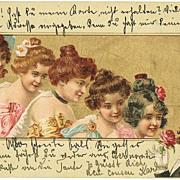 Art Nouveau Postcard Beauties and Gentleman. 1901
