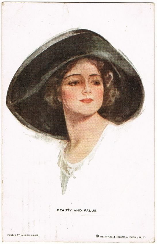 Harrison Fisher Postcard Beauty and Value, 1913