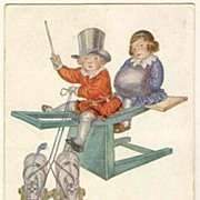 Kids and Toys: Cute Postcard from 1920