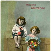Happy Easter: Vintage Postcard with Children