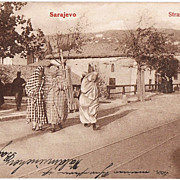 Sarajevo Street Scene, Vintage Postcard from 1909