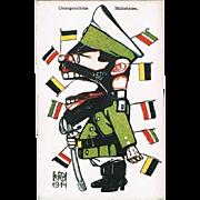Tsar Nicholas II, Artist signed Mocking Card from WW1