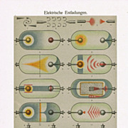 Old Chromolithograph: Electric Discharges, 1898