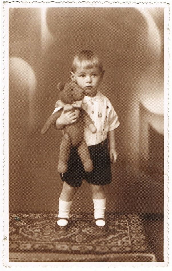 Little Boy With His Teddy Bear Studio Photo From 1920s