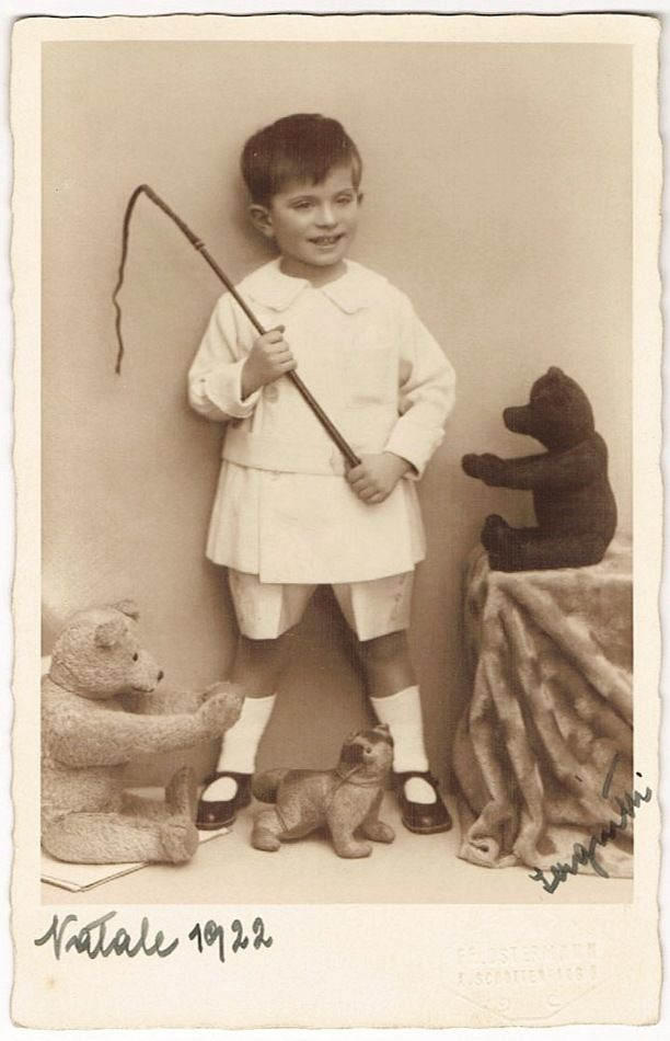 Boy with his Teddy Bears: Vintage Photo