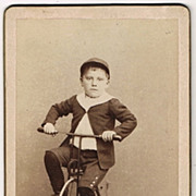 Boy on Tricycle. Old Cabinet Photo