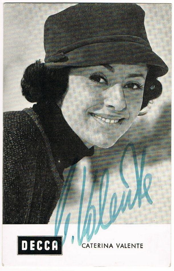 Caterina Valente Autograph on Decca Trading Card. COA