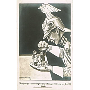 WWI Mocking Postcard Serbia declares War to Germany