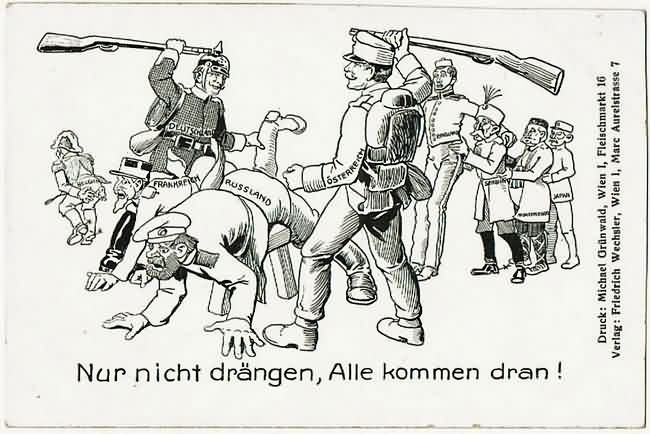WWI Caricature Postcard Austria and Germany beating up Allies