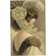 Art Nouveau Postcard Young Lady with Fancy Hat