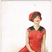 Vintage Postcard of a Beauty. On the Sands. Signed Barber