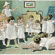 Babies at School. Funny Vintage Postcard from 1901