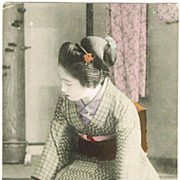Tinted Japanese Postcard Lady in Kimono, kneeling