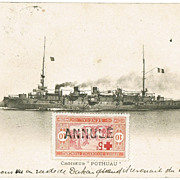 French Cruiser Pothuau in Africa. Vintage Postcard with Senegal Stamp.