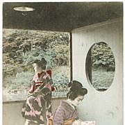 Japanese Geishas. Tinted Postcard from 1914
