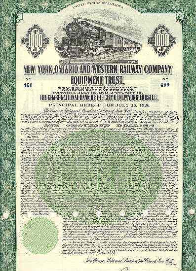 New York, Ontario and Western Railway Company – 1000 $ Bond 1929