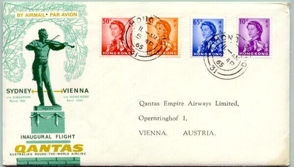 1965: Inaugural Quantas Flight Sidney - Vienna. Hong Kong stamps attached.