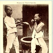 Missionary in China. The Mission in Tche Li. Postcard of 2 Boys.