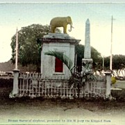 Siam: Bronze Statue of Elephant, presented by His Majesty the King of Siam. Mint Postcard