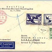 Austria 1954: First Flight Wien (Vienna) Milan - Venice - Rome.