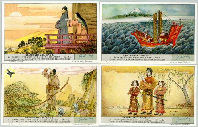 Japan / Germany: 4 decorative trading cards
