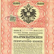 War Bond, Art Deco designed by R. Janke. 10.000 Kronen