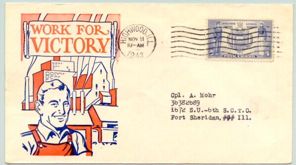 1943: Work for Victory! Slogan on Postal Cover.  American worker.