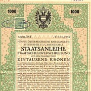 Austrian Art Deco 5th War Bond 1000 Kronen.