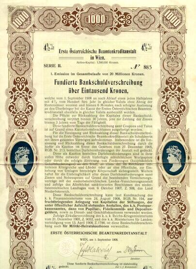 1908: First Austrian Insurance for officials. 1000 Kronen Bond