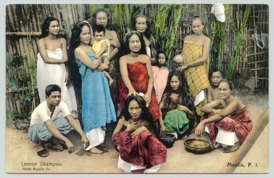 Old Philippines / Manila: Tinted postcard. Group of People