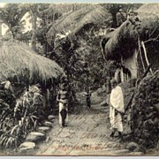 1906: Vintage Postcard Ceylon, Village huts. Sent to Germany
