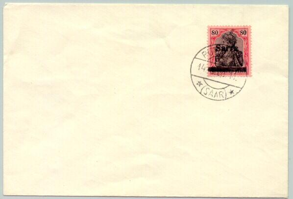 1920 Germany Saar 80 Pfennig overprinted Stamp on Cover