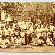 Missionary in Thailand. Picture Postcard of Nuns and Kids