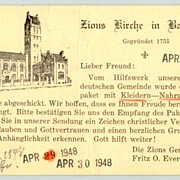 Zion Church in Baltimore: Postcard to Germany