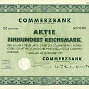 1952: German Commerz Bank Share. 100 Reichsmark