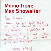 Actor Max Showalter: Letter with Autograph. COA