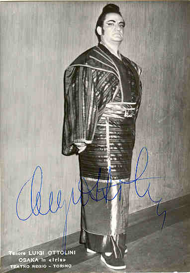 The Tenor Luigi Ottolini. Autograph with CoA