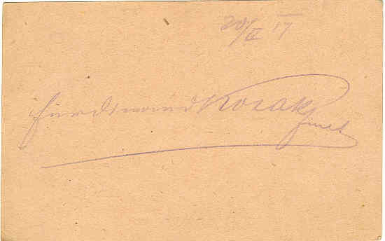 Autograph of commander Ferdinand Kosak, Austrian - Hungarian Empire, WWI