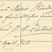 1923: b/w Postcard depicting Carl Michael Ziehrer, Autograph by his Wife.