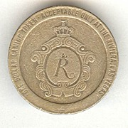 1979: Casino Rivera Gaming Chip. 1 Dollar