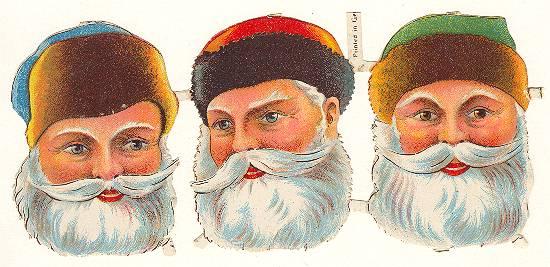 Ca. 1910s: German Die Cut with 3 Santa Heads