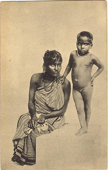 1920: A Tamil Woman and her Child. b/w Postcard